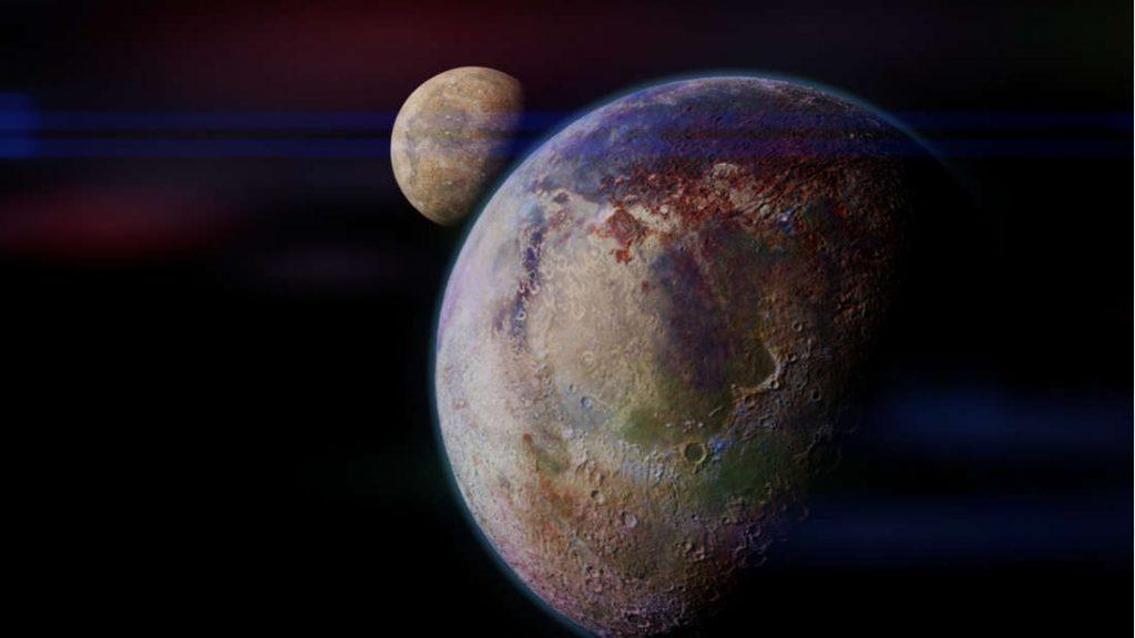 Concepção artística de um exoplaneta com sua exolua.