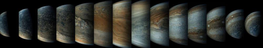 Esta sequência mostra as visões muito diferentes de Júpiter.