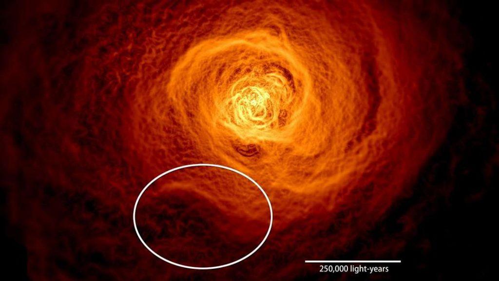 O aglomerado de Perseus com a onda gigante destacada.
