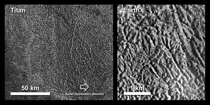 Comparando o terreno de Titã com o da Terra.