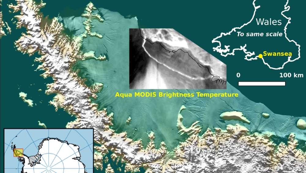 Um mapa de Larsen C sobreposto com a imagem térmica MODIS da NASA.