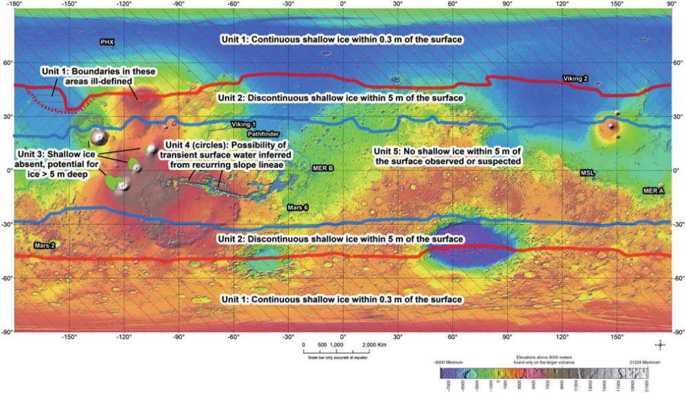 Mapa atualizado de 2016 das possíveis Regiões Especiais em Marte.