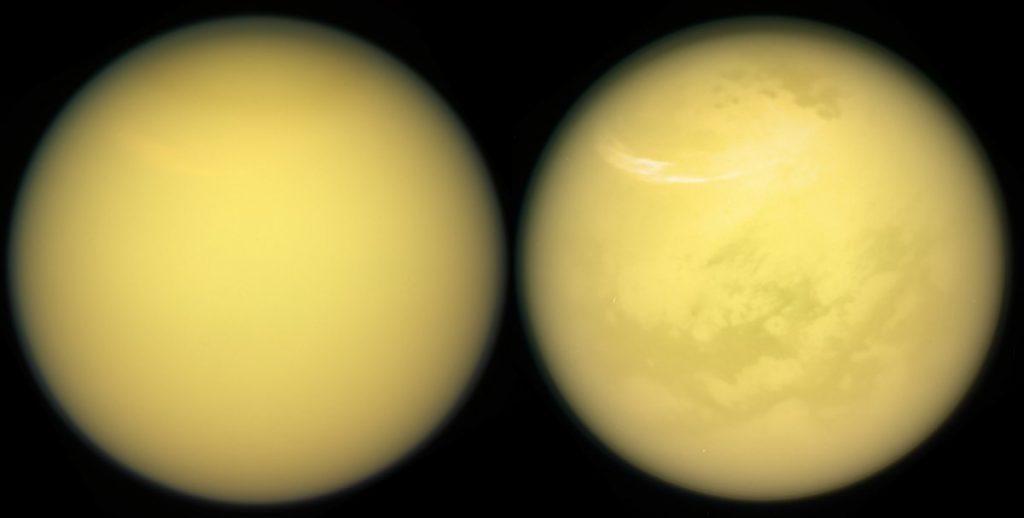 Essas duas visões de Titan mostram os novos detalhes sobre a superfície da lua - incluindo nuvens e nevas em sua atmosfera