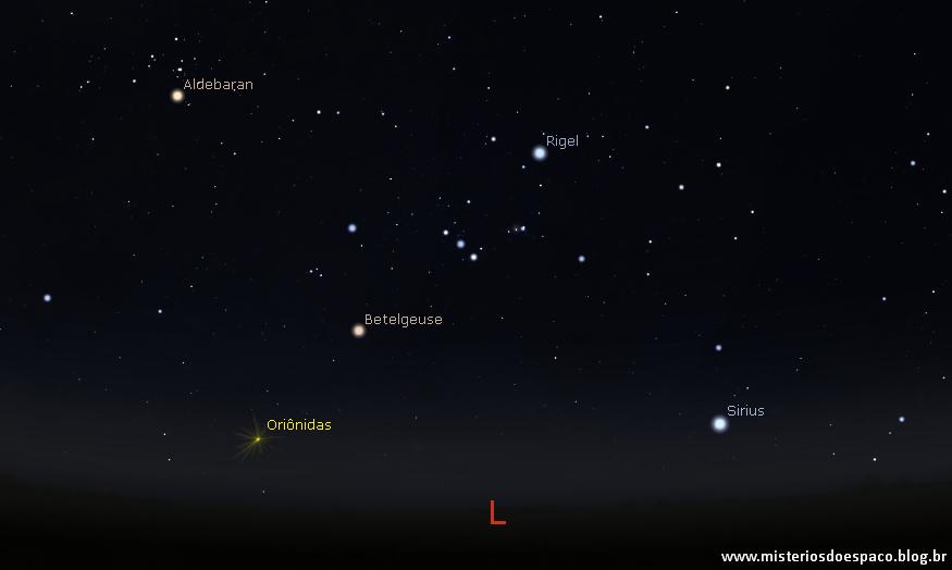 Constelação de Órion. (Simulação: Stellarium)
