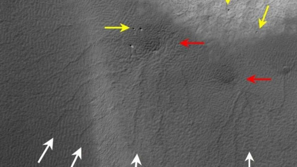 Marcas do fenômeno em Marte.