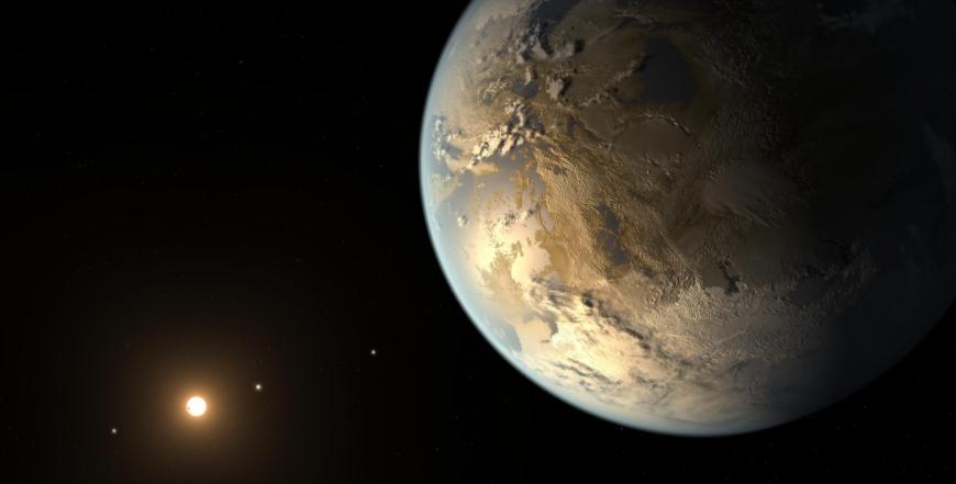 Concepção artística do exoplaneta Kepler-186f.