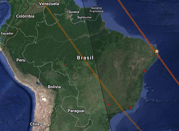 Lugares onde a parte do foguete pode cruzar o céu. Imagem: BRAMON