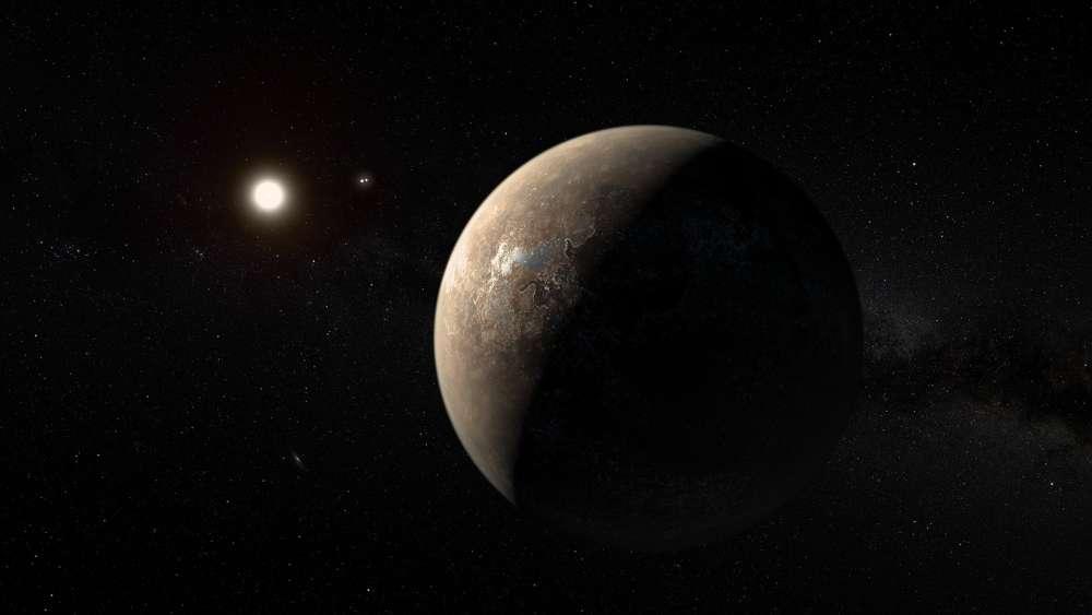 Concepção artística do exoplaneta Proxima B.