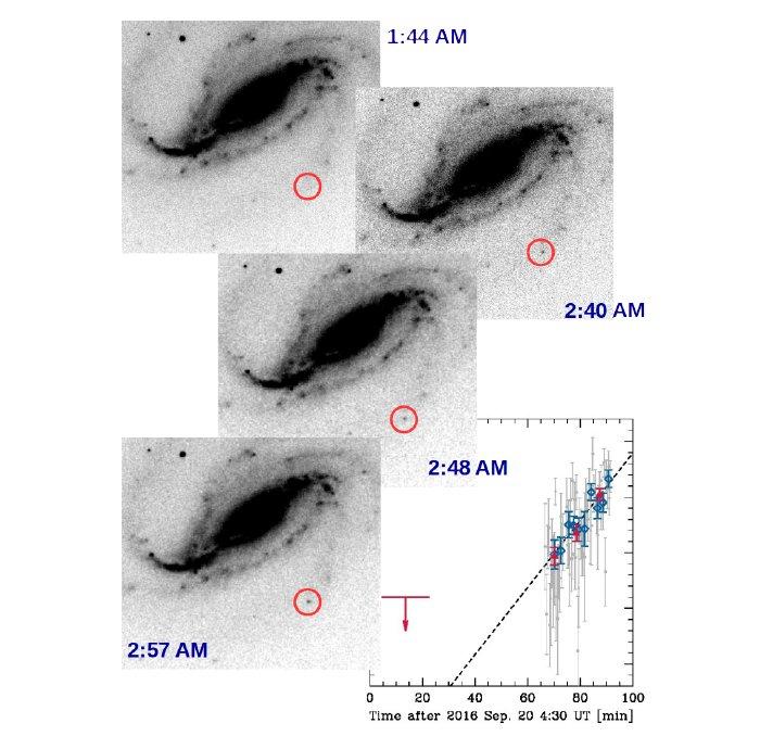 Imagem em negativo mostra a supernova aparecendo e sumindo.