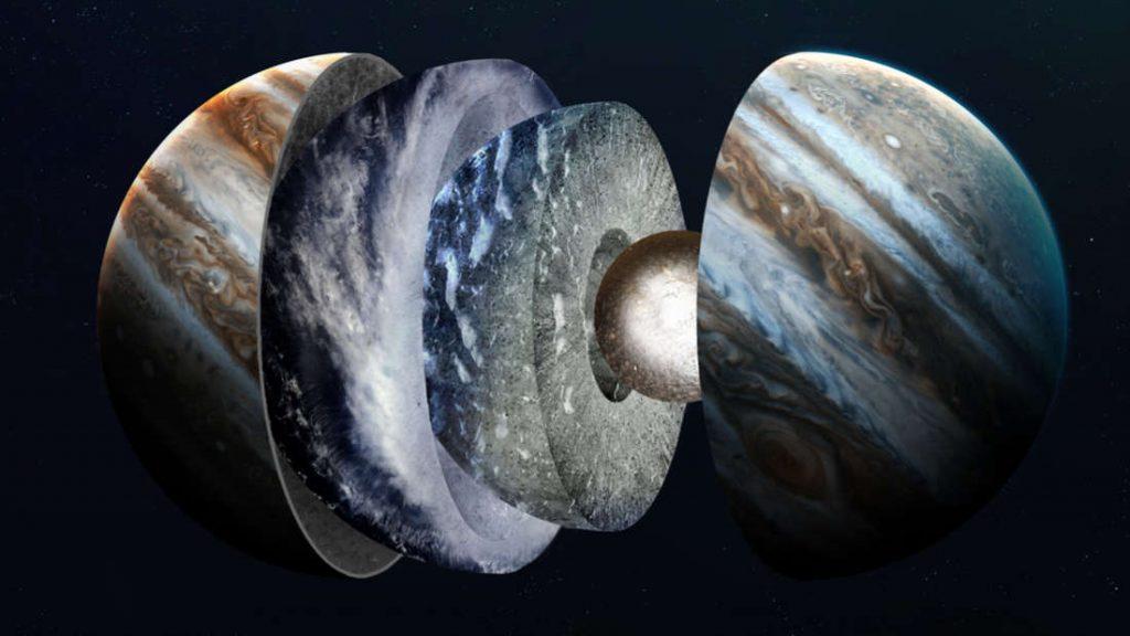 Concepção artística de Júpiter dividido em camadas.