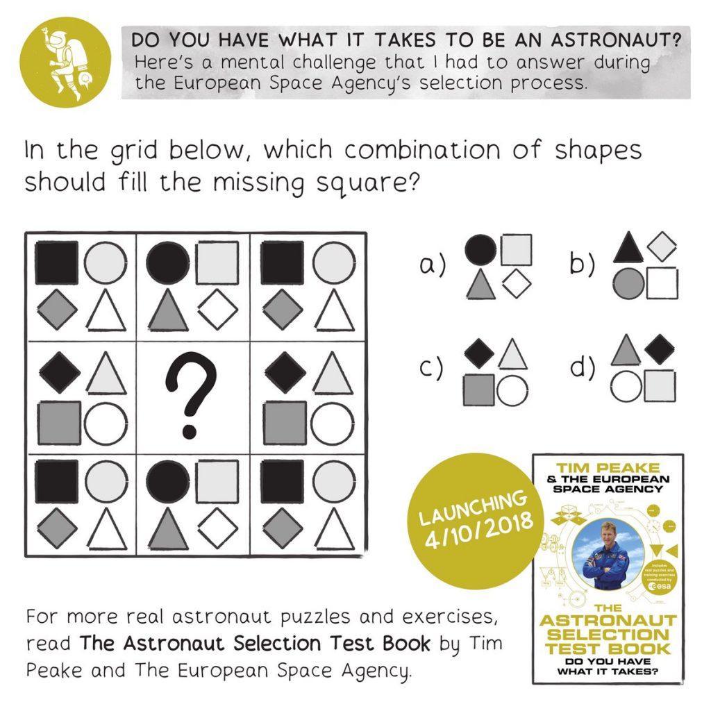 TRADUÇÃO: Na grade abaixo, qual combinação de formas deve preencher o quadrado faltante?