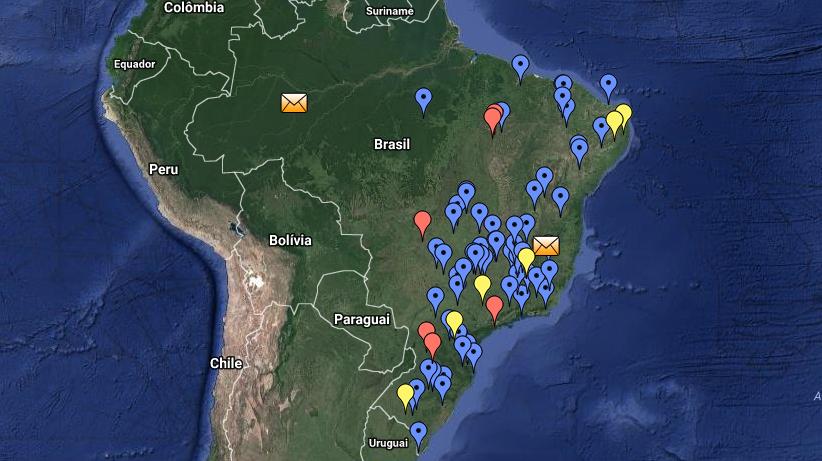 O mapa com as localizações de queda.