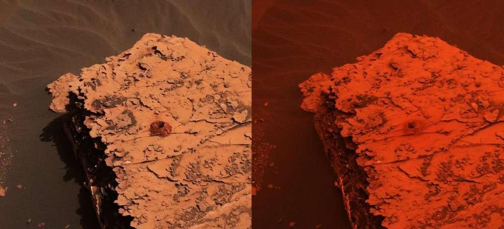 Antes e durante uma tempestade em Marte.