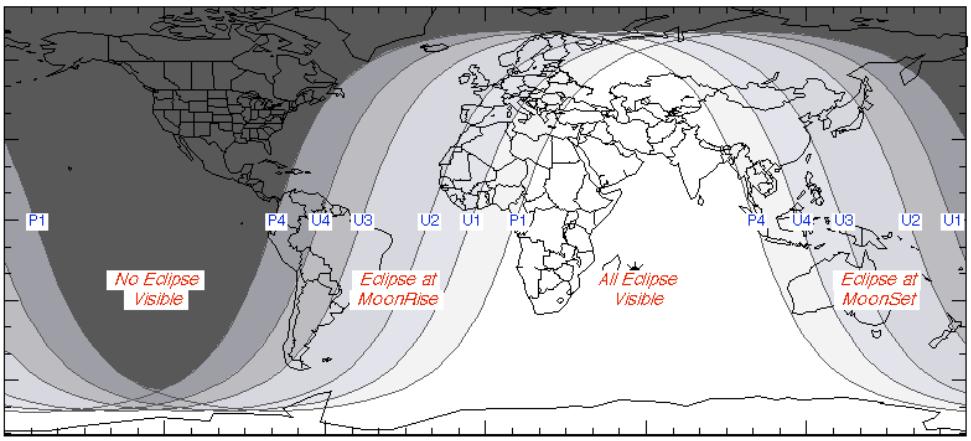 Mapa dos locais onde será possível ver o eclipse.